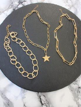 Gold Kaplama Üçlü Kombin Zincir Kolye