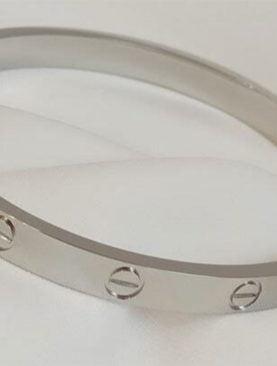 Kartier Alaşım Kelepçe Bileklik Gümüş