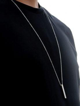 Çubuk Erkek Kolye Alaşım - Gümüş Renk | A+ Kalite Alaşım | 75 Cm Zincir