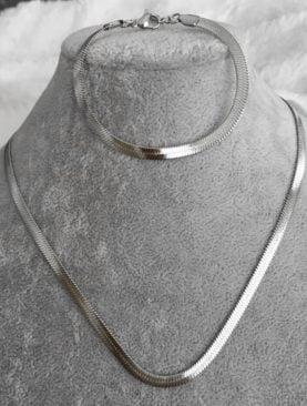 Gümüş Kaplama italyan Ezme Zincir Kolye Bileklik Takı Seti