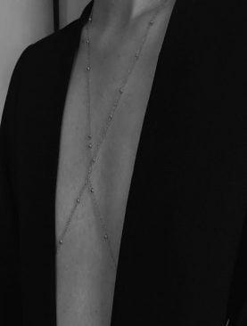 Kadın Mini Top Boncuklu Stylish Vücut Zinciri, Bel Zinciri, Vücut Aksesuarı - Gümüş