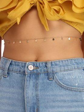 Kadın Made For Sun Pullu Bel Zinciri Vücut Takısı Gold