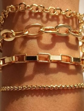 Kadın Altın Dörtlü Düz Kombin Zincir Bileklik