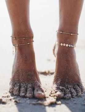 Beach Minik Pullu Toplu Zincir Halhal 4'lü Gold