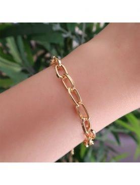 Gold Kaplama Zarif oval dikdörtgen Zincir Bileklik