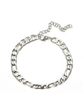 Gümüş Rengi Figaro Alaşım Zincir Halhal