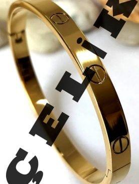 Kartier %100 Çelik Kelepçe Bileklik Altın Renk