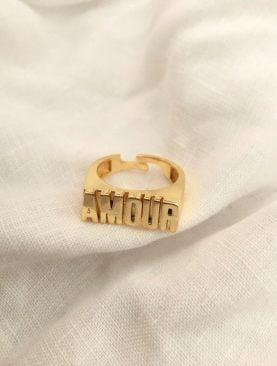 Amour Yüzük Ayarlanabilir Altın Kaplama Yüzük